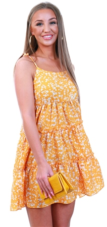 Qed Yellow Floral Strappy Frill Dress  - Click to view a larger image