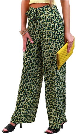 Brave Soul Black / Yelllow Floral Pattern Wide Trousers  - Click to view a larger image