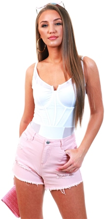 Urban Bliss Baby Pink Ripped Distressed Shorts  - Click to view a larger image