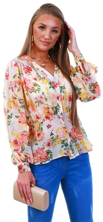 Qed Floral Pattern Frill Blouse  - Click to view a larger image