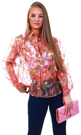 Qed Pink Floral Pattern Organza Blouse  - Click to view a larger image