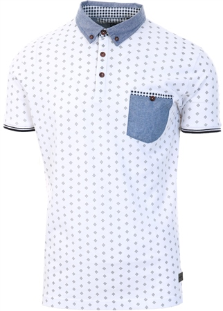 Brave Soul White Pattern Polo Shirt  - Click to view a larger image