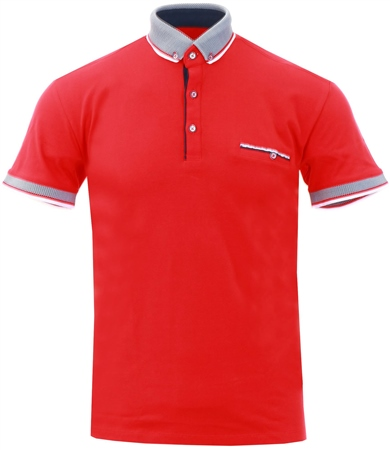 Ottomoda Red Short Sleeve Polo Shirt  - Click to view a larger image