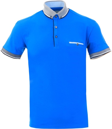 Ottomoda Cobalt Short Sleeve Polo  - Click to view a larger image