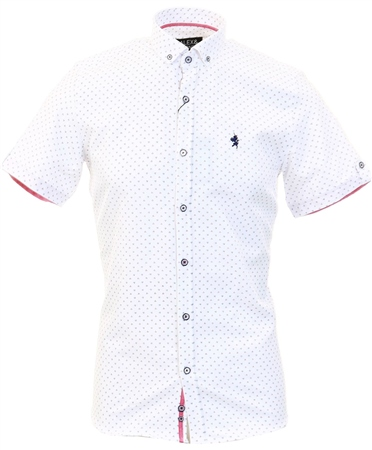 Alex & Turner White Pattern Short Sleeve Shirt  - Click to view a larger image