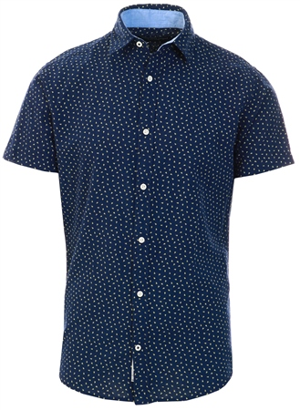 Jack & Jones Blue / Navy Blazer Printed Short Sleeved Shirt  - Click to view a larger image