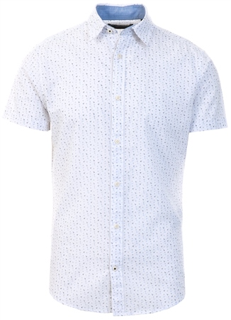 Jack & Jones White / Cloud Dancer Printed Short Sleeved Shirt  - Click to view a larger image