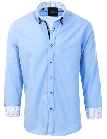 Silvio Valentin Blue Long Sleeve Button Shirt  - Click to view a larger image