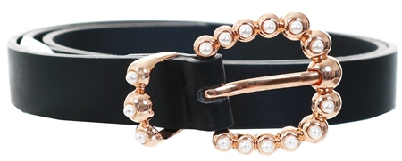Pieces Black Arine Pu Pearl Buckle Belt  - Click to view a larger image
