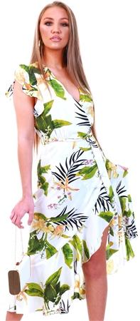 Ax Paris Cream Tropical Wrap Dress  - Click to view a larger image