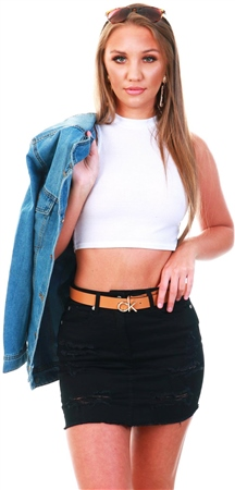 Parisian White Highneck Crop Top  - Click to view a larger image