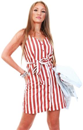 Veromoda Marsala/Birch Short Striped Dress  - Click to view a larger image