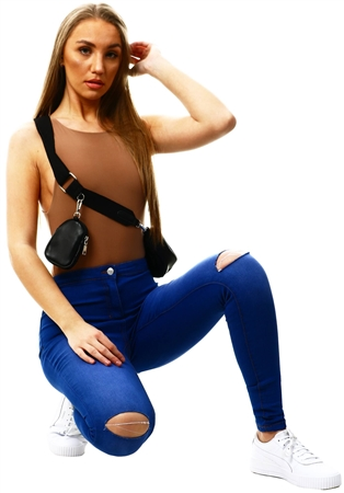 Parisian Brightblue Ripped Knee Faded Skinny Jeggings  - Click to view a larger image