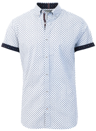 Jack & Jones White / White Printed Short Sleeved Shirt  - Click to view a larger image