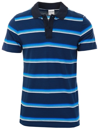 Jack & Jones Dark Blue / Navy Striped Polo Shirt  - Click to view a larger image