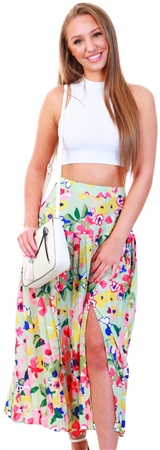 Influence Green Vintage Floral Midaxi Pleated Skirt  - Click to view a larger image