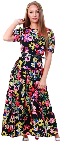Influence Black Floral Maxi Balloon Sleeve Tea Dress  - Click to view a larger image