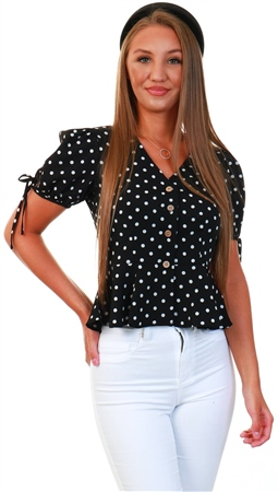 Qed Black Puff Sleeve Spot Top  - Click to view a larger image
