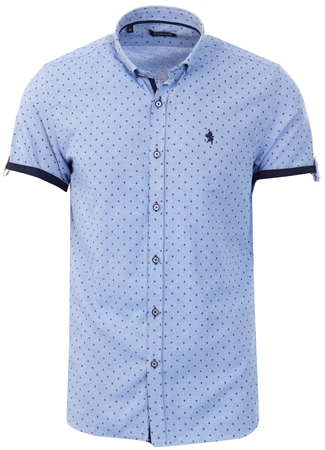 Alex & Turner Blue Pattern Short Sleeve Shirt  - Click to view a larger image