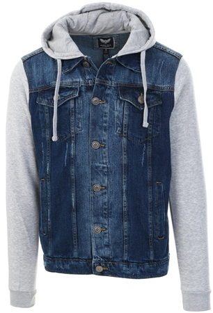 Brave Soul Denim / Grey Marl Jersey Hudson Jacket  - Click to view a larger image