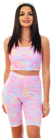 Missi London Tie Dye Ribbed Cycle Shorts  - Click to view a larger image