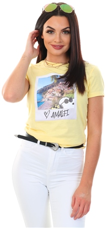 Only Pinapple Slice / Yellow Peanuts Printed T-Shirt  - Click to view a larger image