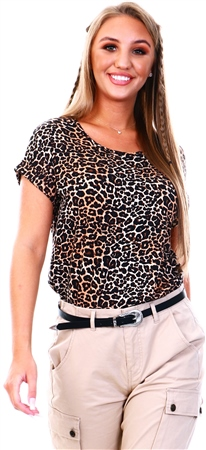 Only Black / Leopard Basic Short Sleeved Top  - Click to view a larger image
