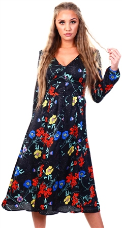 Brave Soul Black Floral Midi Long Sleeve Dress  - Click to view a larger image
