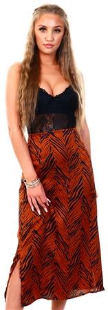 Brave Soul Brown Zebra Print Satin Midi Skirt  - Click to view a larger image