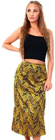 Brave Soul Mustard Zebra Print Satin Midi Skirt  - Click to view a larger image