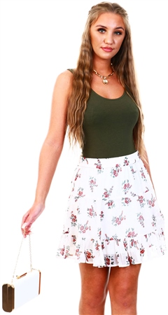 Veromoda Birch/White Kay Floral Skirt  - Click to view a larger image