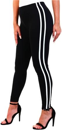 Brave Soul Black / White Stripe Leggings  - Click to view a larger image