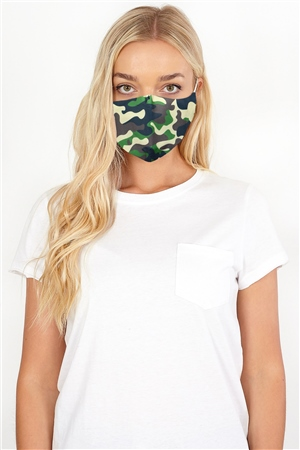 Brave Soul Khaki Camouflage Fashion Face Mask  - Click to view a larger image