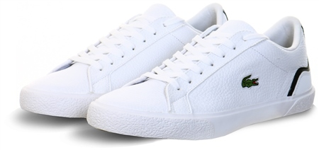 Lacoste White Lerond Tumbled Leather And Synthetic Trainers  - Click to view a larger image