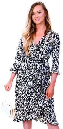 Brave Soul White/Black Leopard Print Wrap Dress  - Click to view a larger image