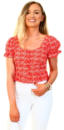 Qed Red/Daisy Print Puff Sleeve Top  - Click to view a larger image