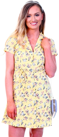 Qed Yellow Floral Print Mini Dress  - Click to view a larger image