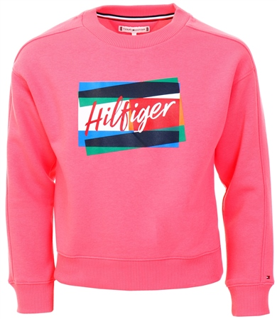 Tommy Jeans Pink Signature Logo Crew Neck Sweatshirt  - Click to view a larger image