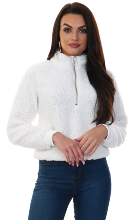 Brave Soul Cream Milla Teddy Half Zip  - Click to view a larger image