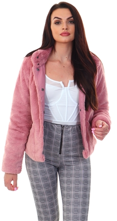 Only Dusty Rose Vida Fur Jacket  - Click to view a larger image
