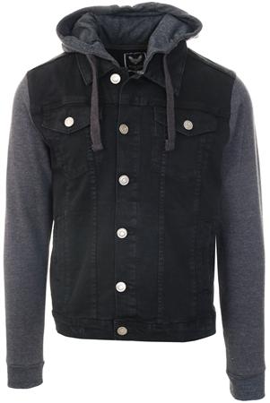 Brave Soul Black Denim / Marl Jersey Hudson Jacket  - Click to view a larger image