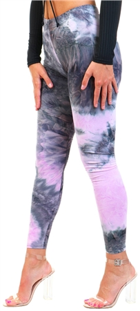 Brave Soul Grey/Pink Saturn Tie Dye Leggings  - Click to view a larger image