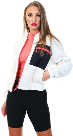 Only White/Black Janessa Teddy Pocket Jacket  - Click to view a larger image