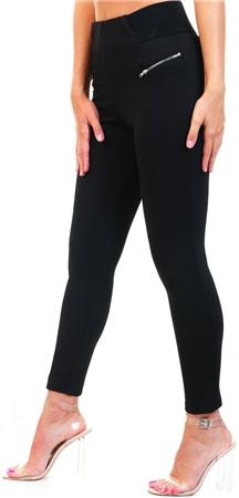 Brave Soul Black Leon Zip Leggings  - Click to view a larger image
