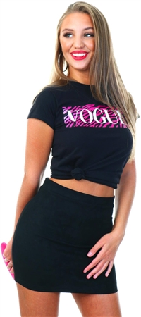 Missi London Black/Pink Vogue Zebra Tee  - Click to view a larger image