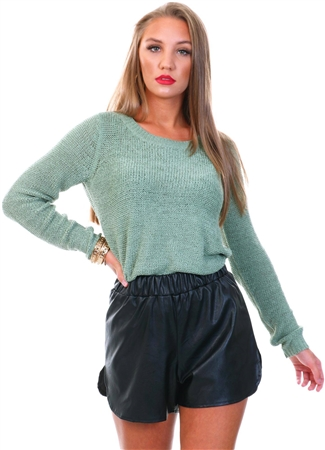 Only Hedge Green Texture Knitted Pullover  - Click to view a larger image