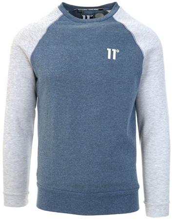 11degrees Navy Marl/Tornado Marl Contrast Sleeve Sweatshirt  - Click to view a larger image