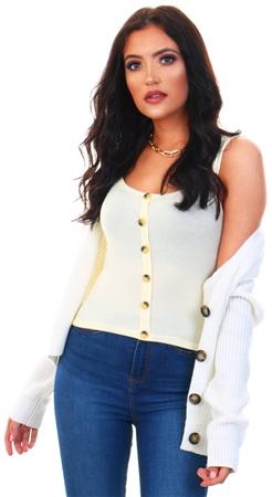 Brave Soul Lemon Adora Button Vest  - Click to view a larger image