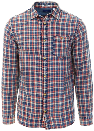 Jack & Jones Orange / Burnt Ochre Checked Comfort Fit Shirt  - Click to view a larger image