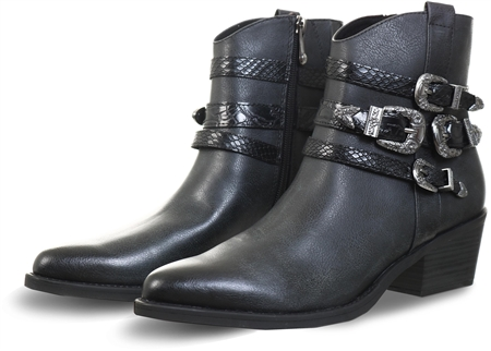 Marco Tozz Distressed Black Western Boots  - Click to view a larger image